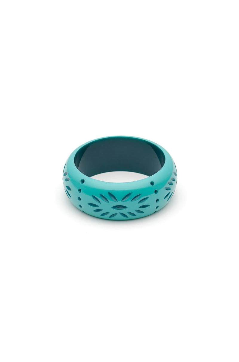 Nymph Wide Carved Bangle Bracelet by Splendette