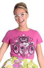 Pink Cheshire Cat T-Shirt Top by Blue Platypus