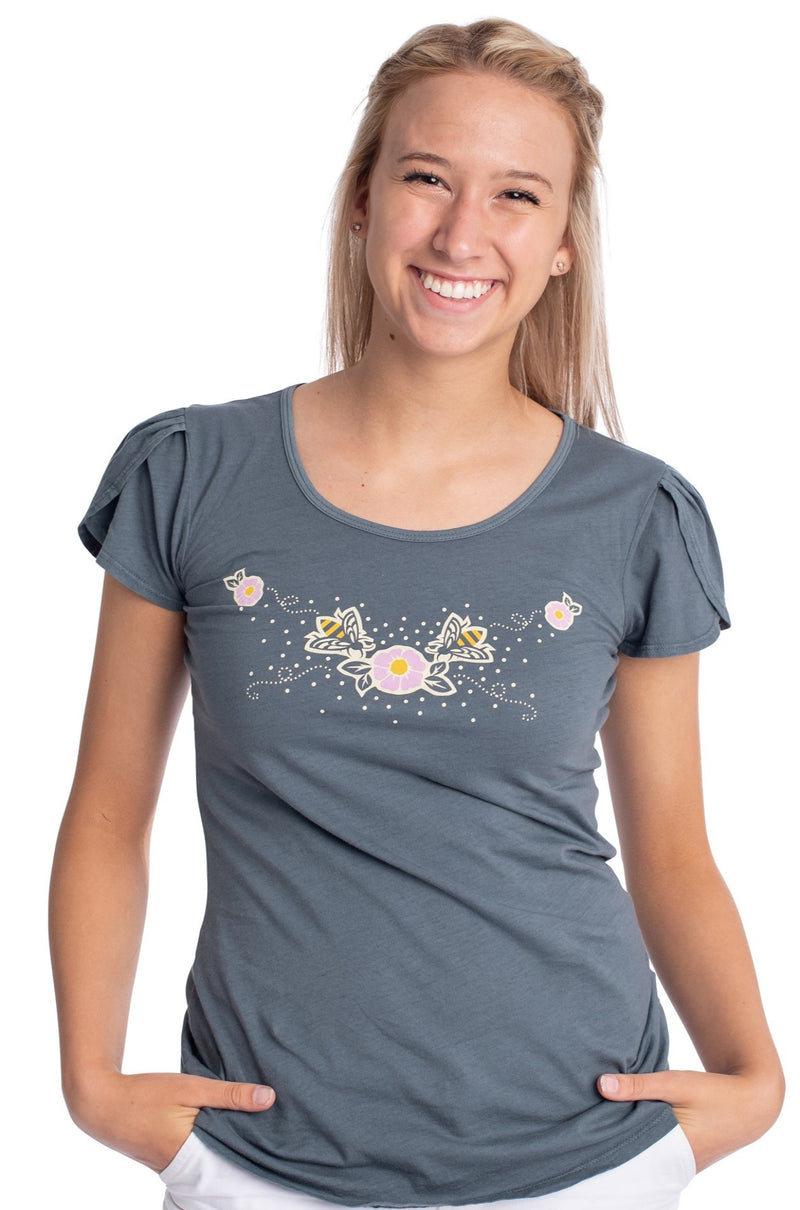 Bee Flower Tulip T-Shirt Top by Blue Platypus