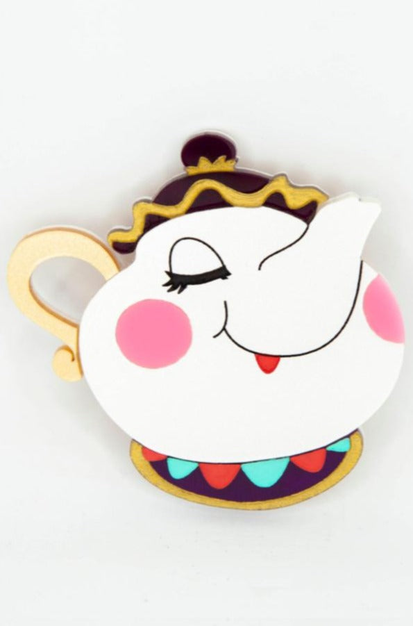 Mrs. Potts Teapot Brooch of Beauty and the Beast by Daisy Jean Florals