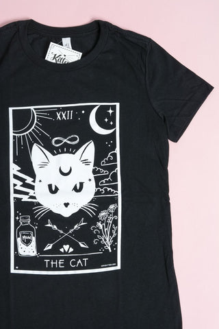 THE CAT T-Shirt Top in Black by Kittees