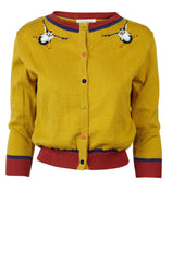 Mustard Embroidered Puffin Cardigan by Palava