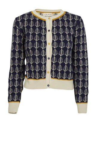 Navy Feather Jacquard Cardigan by Palava
