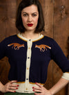 Navy Embroidered Fox Cardigan by Palava