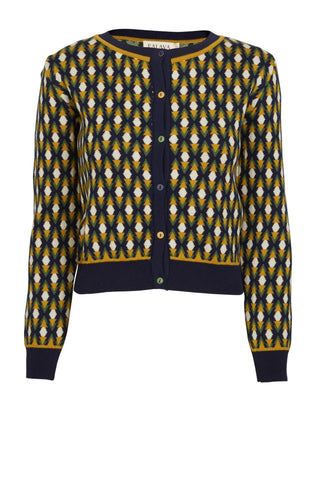 Navy Jacquard Diamond Cardigan by Palava