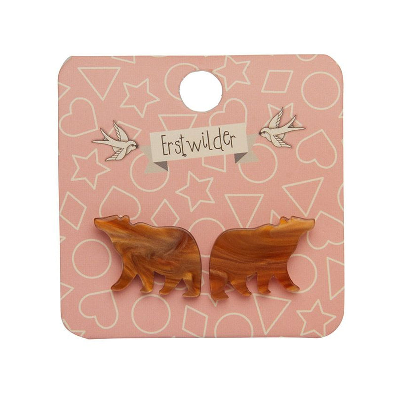 Brown Bear Textured Resin Stud Earrings by Erstwilder