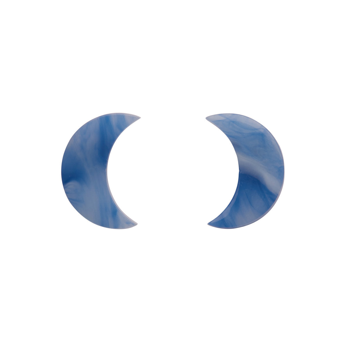 Blue Marble Crescent Moon Earrings by Erstwilder