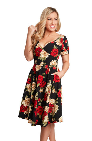 Short Sleeve Floral Faux Wrap Dress by Eva Rose