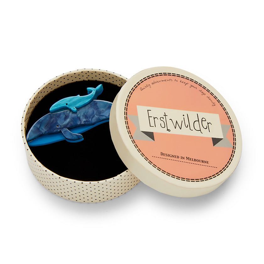 Benevolent Behemoths Blue Whale Brooch by Erstwilder