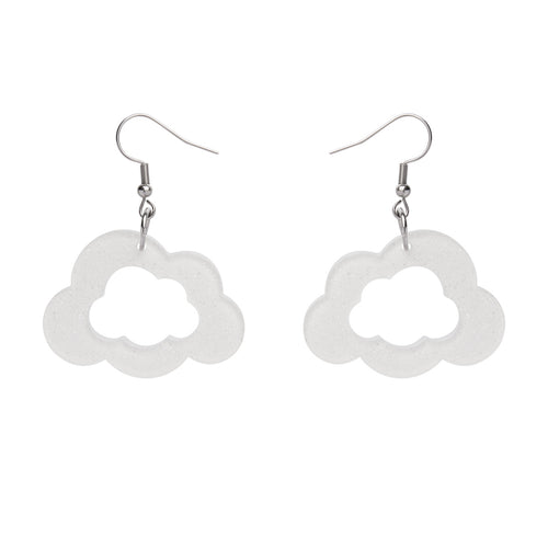 Care Bears Cloud Glitter Earrings in White by Erstwilder