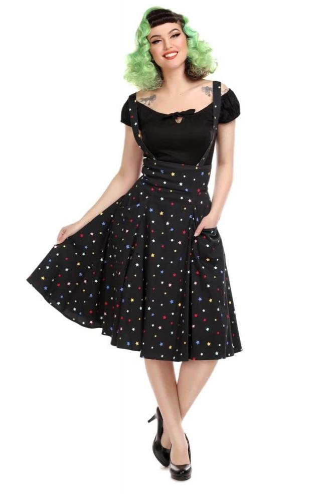 Rainbow Star Alexa Suspender Skirt by Collectif