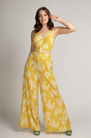 Alizee Golden Leaves Wide-Leg Pants by Collectif