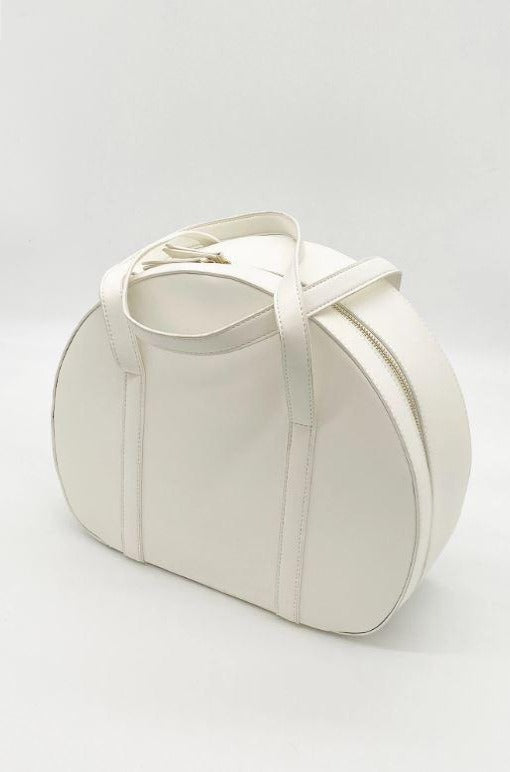 Amelia Train-case Handbag in White by Tatyana