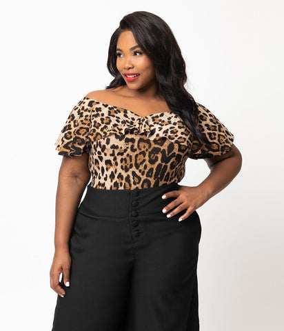 Leopard Frenchie Top by Unique Vintage