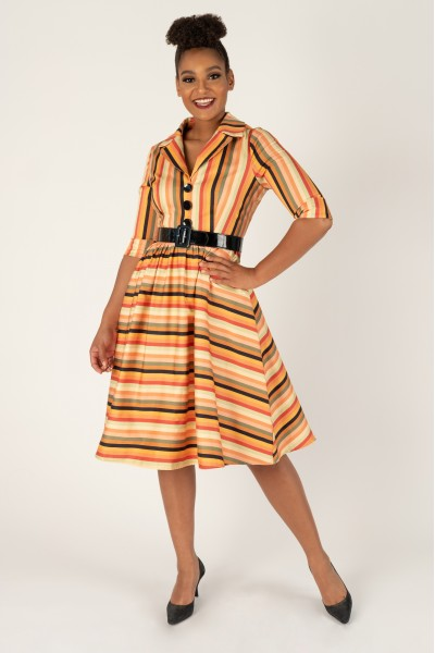 Autumn Spice Striped Shirt Dress by Tailor & Twirl