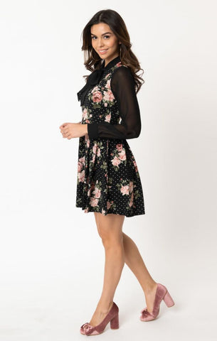 Long Sleeve Tie-Neck Dress in Black & Pink Floral Dot by Smak Parlour