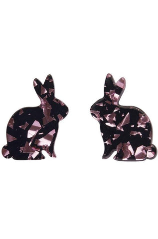 Bunny Chunky Glitter Earrings in Pink by Erstwilder