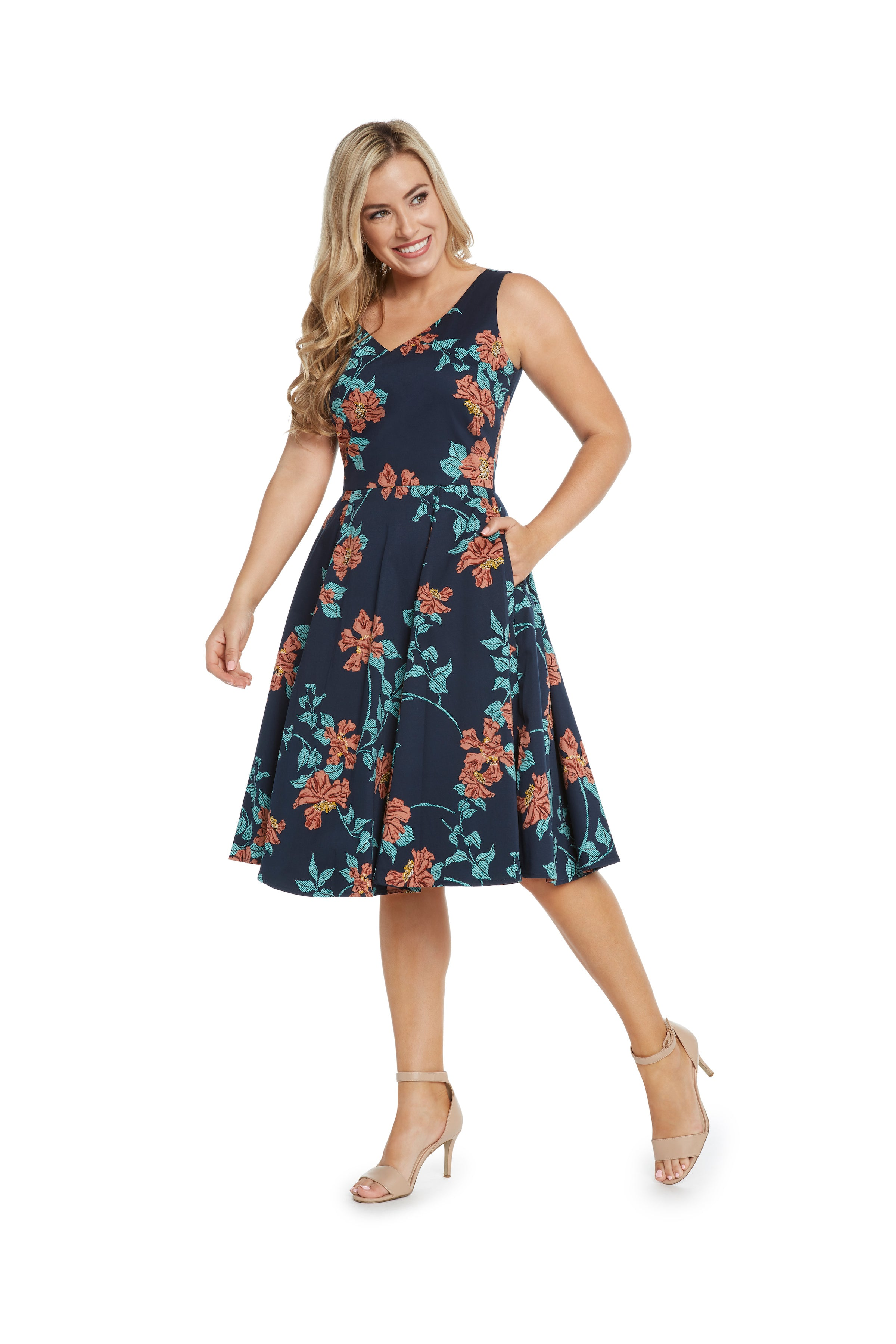 Navy V-Neck Dress with Coral Flowers by Eva Rose