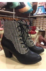 Haku Black Houndstooth Bootie by B.A.I.T.