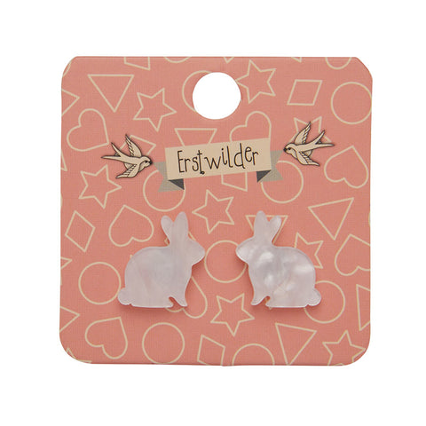 Bunny Textured Resin Earrings in White by Erstwilder