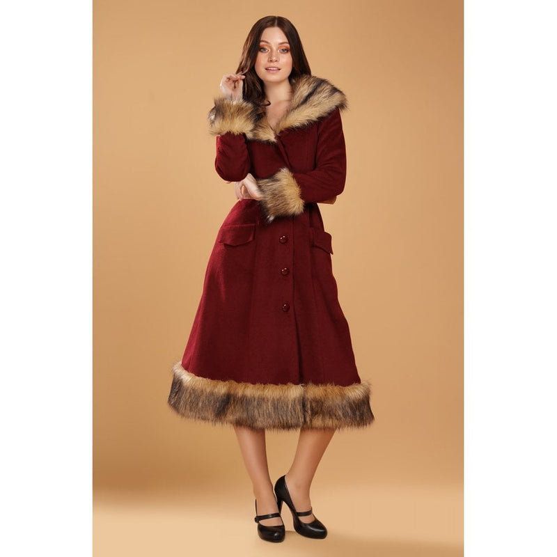 Berenice Burgundy Coat with Faux Fur Trim by Collectif