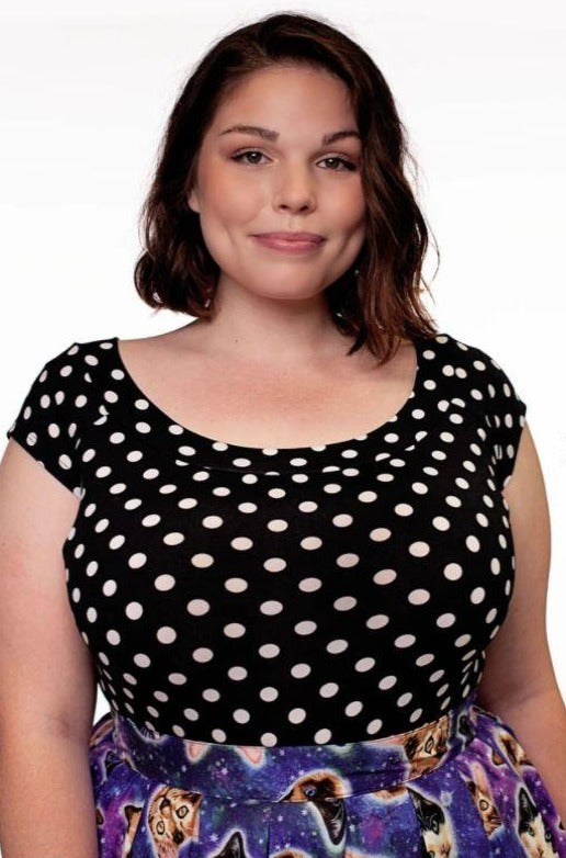 Polka Dot Boat Neck Top in Black & White
