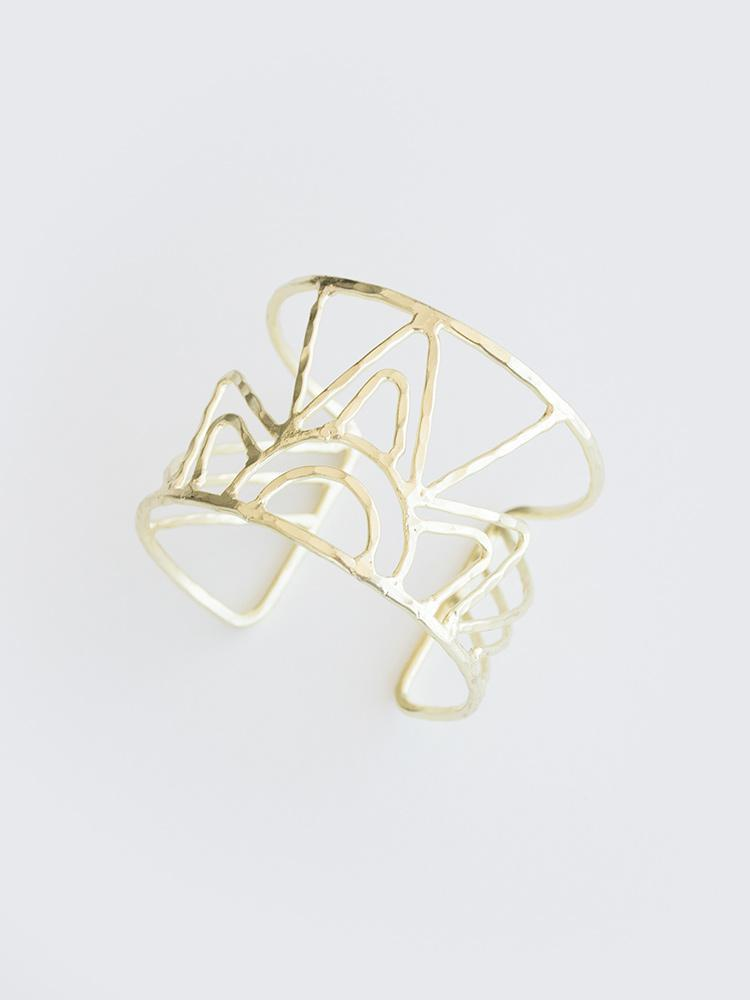 Gold Deco Beam Cuff Bracelet by Mata Traders