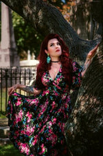 Rose Bouquet Aurora Wrap Dress by Wax Poetic