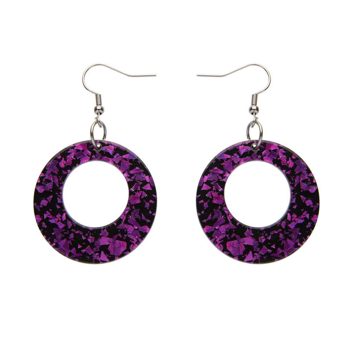 Circle Chunky Fuchsia Glitter Earrings by Erstwilder