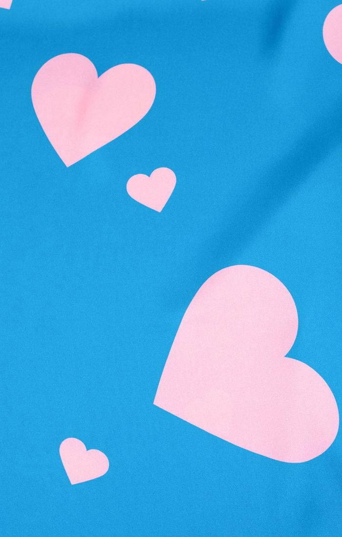 Blue & Pink Heart Print Hair Scarf