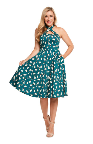 Eva Rose Siamese Blue Cat Cross Front Dress