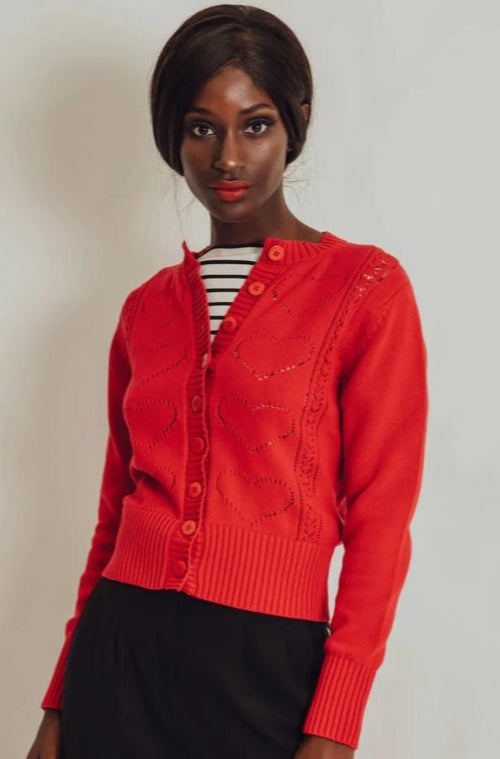 Regina Red Heart Cardigan Sweater by Voodoo Vixen