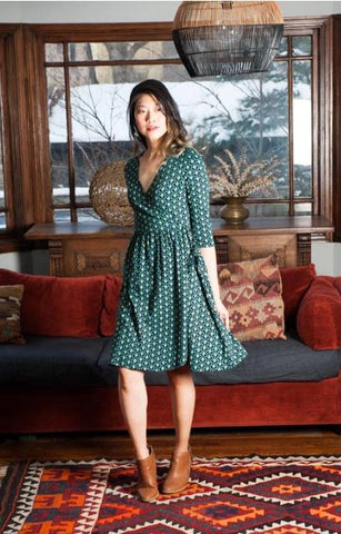 Callie Wrap Dress in Teal Bloom by Mata Traders
