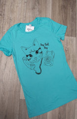 Cat Call T-Shirt in Teal by Kittees