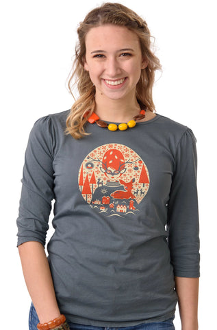 Grey Christmas Girl 3/4 T-Shirt Top by Blue Platypus