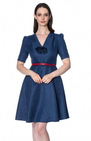 Secretary Swing Dress in Blue with Bow