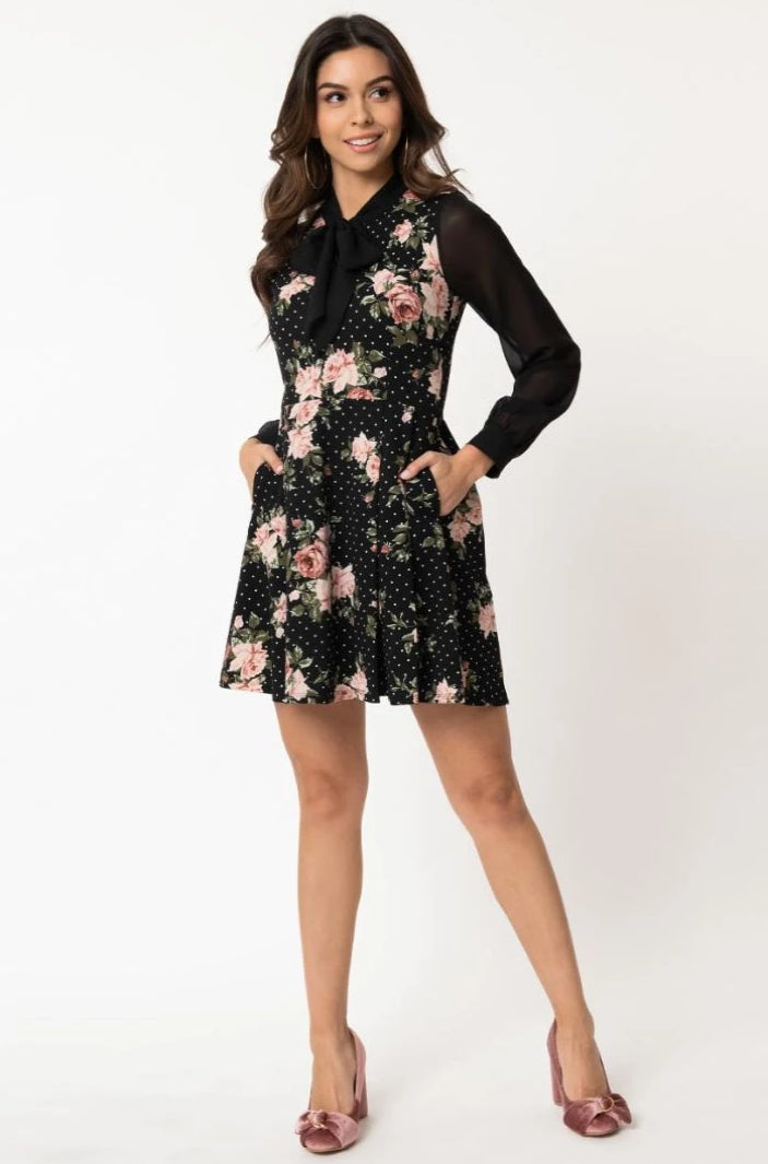 Final sale Long Sleeve Tie-Neck Dress in Black & Pink Floral Dot by Smak Parlour