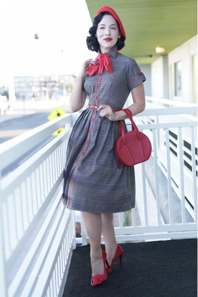 Day Dress in Red & Gray Plaid by Tatyana