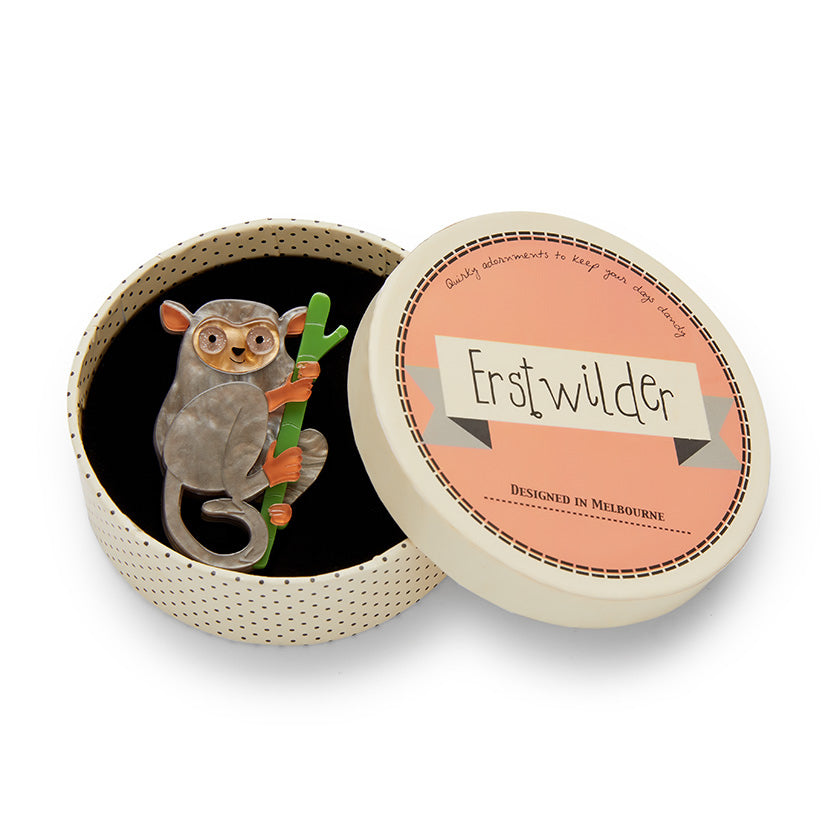 Eyes Wide Open Tarsier Brooch by Erstwilder