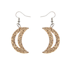 Gold Crescent Moon Glitter Earrings by Erstwilder