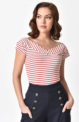 Deena Top in Red & White Stripe by Unique Vintage
