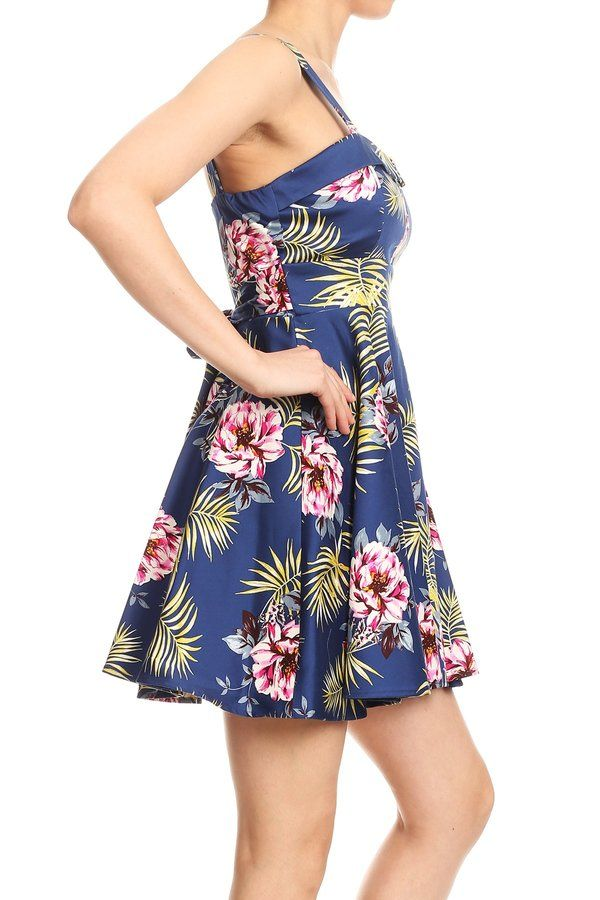 Navy Tropical Tie-Back Mini Dress