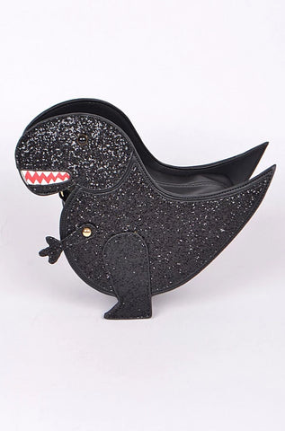 Glitter Dinosaur Crossbody Bag in Black