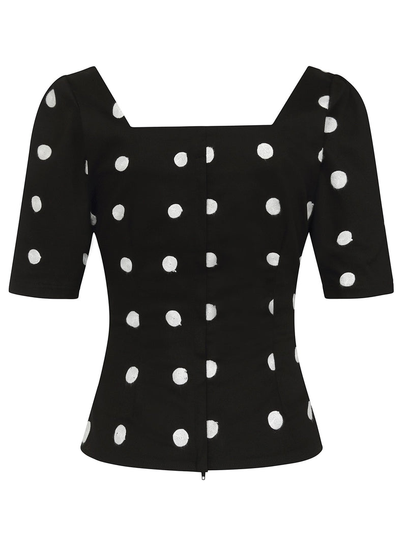Black and White Polka-dot Half Sleeve Top by Collectif