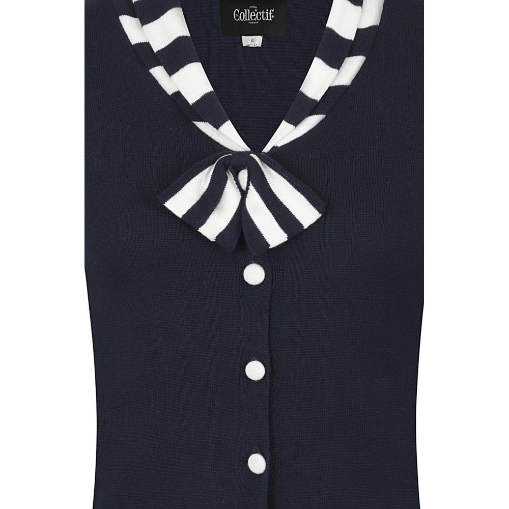 Doreen Nautical Cardigan in Navy by Collectif