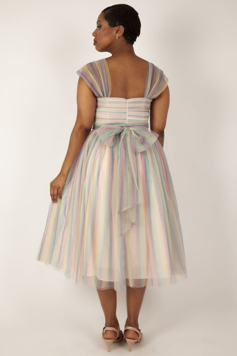 Hayley Rainbow Mesh Prom Dress by Voodoo Vixen