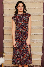 Elise Black Floral Midi Dress by Mata Traders
