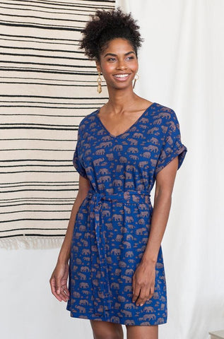 Montrose Tie Dress in Elephant Print by Mata Traders