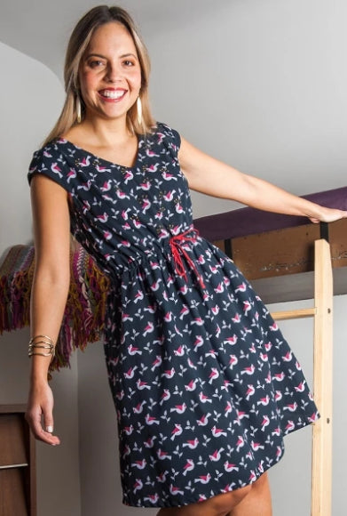 Nashville Dress in Birds by Mata Traders