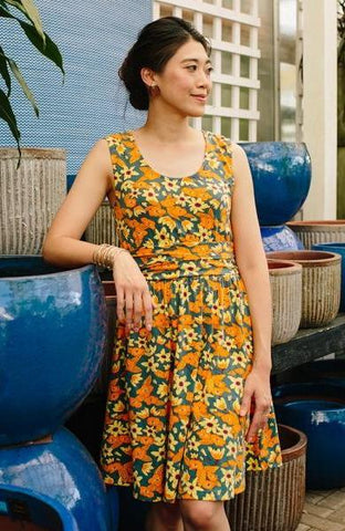 Shoreline Dress in Orange Floral by Mata Traders